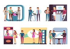 People at trade expo. Men and women at product demonstration stands and event booths on exhibition. Vector set. Of demonstration exhibition advertising, desk royalty free illustration