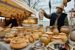 People trades typical lithuanian clay pots Stock Photo