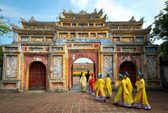 People in traditional costumes, Hue, Vietnam Stock Image