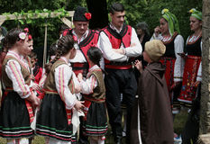 People in traditional folklore costumes Royalty Free Stock Photography