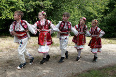 People in traditional folklore costumes Royalty Free Stock Photos