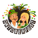 People in traditional german bavarian costume holding beer mugs oktoberfest cartoon Stock Photography