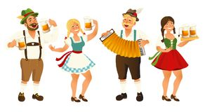People in traditional German, Bavarian costume holding beer mugs, Oktoberfest, cartoon vector illustration isolated on Stock Images