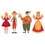 People in traditional German, Bavarian costume holding beer mugs, Oktoberfest Royalty Free Stock Photos