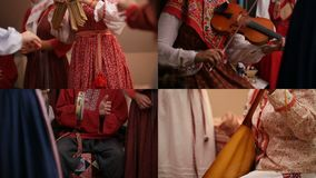 4 in 1: People in traditional Russian clothes play different musical instruments. Collage stock video footage