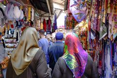 People in Turkish street market stock images