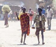 People in traditional village of Dassanech tribe. Omorato, Ethiopia. Stock Photo