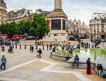 People in Trafalgar Square in London (hdr) Royalty Free Stock Images