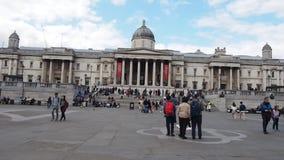 People in Trafalgar square, London stock video