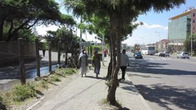 People and traffic in Addis Ababa, Ethiopia stock video footage