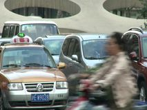 People, traffic and architecture of Shanghai city stock video