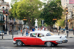 People and traffic at the famous El Prado Boulevard in Old Havana Stock Images