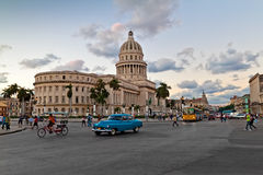 People and traffic in front of the Capitol in Hava Royalty Free Stock Photography