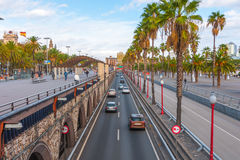 People & traffic, late afternoon in seaside Barcelona, Spain. Stock Photo
