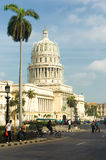 People and traffic near the Capitol in Havana Royalty Free Stock Photography