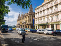 People and traffic near the Central Park of Havana Royalty Free Stock Photo