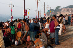 People traffic near the river Ganges Royalty Free Stock Photography