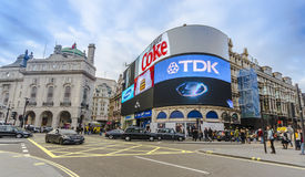 People and traffic in Piccadilly Circus Stock Photos