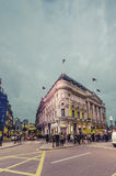 People and traffic in Piccadilly Circus, London Royalty Free Stock Image