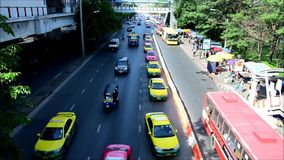 People on the Traffic road in Bangkok Thailand stock footage