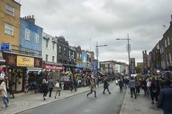 People and traffic on street in Camden Town London England. Camden Town London Great Britain, October 13 2017,  People and traffic on street, Nice outdoors image Royalty Free Stock Photos