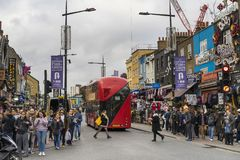 People and traffic on street in Camden Town London Great Britain Stock Images