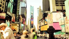 People traffic on Times Square of New York - timelapse stock video
