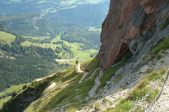 People on trail to Grosser Mythen top. Stock Photos