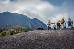 People on the trail to Volcano Pacaya in Guatemala Stock Photos