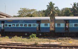 People in the train. Station in Kerala, India, South Asia Royalty Free Stock Image