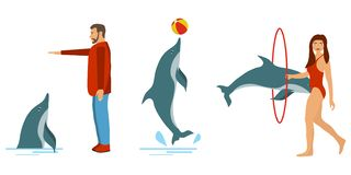 People train dolphins. Dolphin show. People play with dolphins. stock illustration