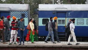 People at the train station in Amritsar. AMRITSAR, INDIA - 2 MARCH 2015: People at the train station in Amritsar stock footage