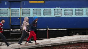 People at the train station in Amritsar. stock video