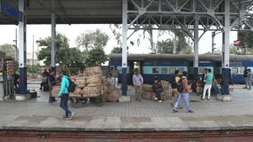 People at the train station in Amritsar. stock footage