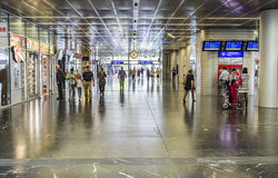 People at train Station Prater in Vienna Stock Photo