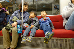 People on the train in Tokyo, Japan Royalty Free Stock Photos