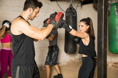 Group of people training in a boxing gym royalty free stock photos