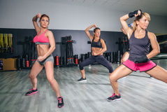 People training boxing in a fitness center Stock Image