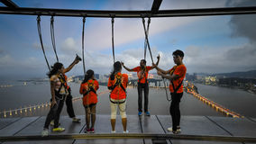 People training before bungee jump and sky walk Royalty Free Stock Image