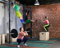 People are training at the cross fit gym royalty free stock images