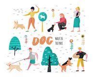 People Training Dogs in the Park. Characters Walking Outside with Pets. Vector illustration Stock Photography