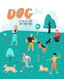 People Training Dogs in the Park. Dog Poster, Banner. Characters Walking Outside with Pets. Vector illustration Royalty Free Stock Photo