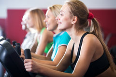People training on exercise bikes together Stock Photos