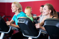 People training on exercise bikes together Royalty Free Stock Images