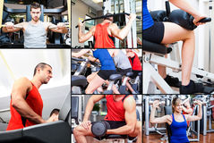 People training in a fitness club Royalty Free Stock Photo