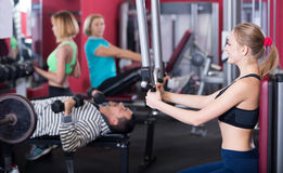 People training in gym Royalty Free Stock Image