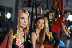 People training in the gym stock images