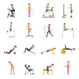 People Training At Gym Icons Set Stock Photo