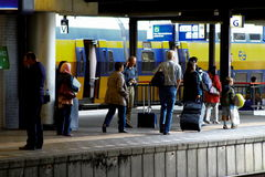 People and trains at platform NS Railwaystation Utrecht, Holland, the Netherlands Stock Photo