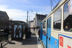 People at the tram stop at Drottningtorget in Gothenburg, Sweden Stock Image